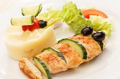 stock photo of mashed potatoes  - chicken with mashed potatoes for kids menu - JPG