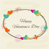 pic of corazon  - Colorful hearts and flowers decorated frame for Happy Valentine - JPG