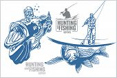 stock photo of hunter  - Underwater hunter and fisherman  - JPG