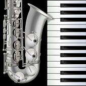 pic of saxophones  - abstract musical background with saxophone and piano on black - JPG