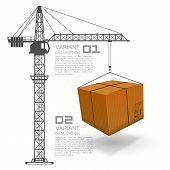 stock photo of construction crane  - Crane loading boxes art box - JPG