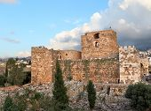 stock photo of crusader  - The ancient Byblos Crusader Castle on the Lebanese coast - JPG