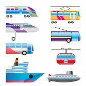 Постер, плакат: различные типы значков транспорт