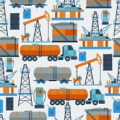 stock photo of petrol  - Industrial seamless pattern with oil and petrol icons - JPG