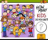 image of preschool  - Cartoon Illustration of Education Counting Game for Preschool Children - JPG