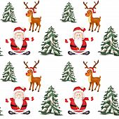 pic of deer family  - Illustration of seamless pattern with Christmas objects - JPG