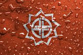 foto of fukushima  - a flag of Fukushima with rain drops - JPG