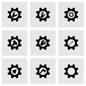 stock photo of gear  - Vector tools in gear icon set on grey background - JPG