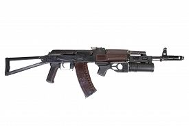 picture of grenades  - AK with grenade launcher isolated on white - JPG