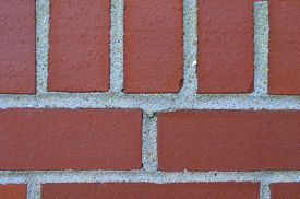 stock photo of grout  - Red brick textured wall with cement grout - JPG