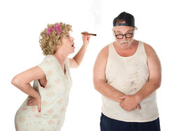 picture of wife-beater  - Bickering wife with cigar confronting husband on white background - JPG