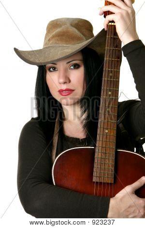 Постер, плакат: Страны женщина с акустическая гитара, холст на подрамнике