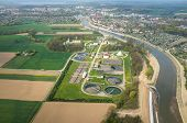 pic of wastewater  - Aerial view of the sewage treatment plant - JPG