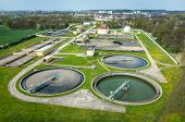 picture of sewage  - Aerial view of the sewage treatment plant - JPG