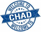 picture of chad  - welcome to Chad blue round ribbon stamp - JPG