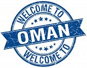 stock photo of oman  - welcome to Oman blue round ribbon stamp - JPG