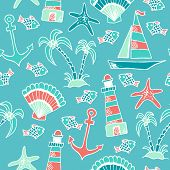 stock photo of lighthouse  - Summer traveling seamless pattern with hand drawn seashells - JPG