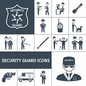 image of handgun  - Security service guard officer uniform emblem baton and handgun black icons set abstract isolated vector illustration - JPG
