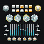 stock photo of analogy  - Computer and analog technique button set colored isolated vector illustration - JPG