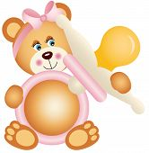 stock photo of baby bear  - Scalable vectorial image representing a teddy bear girl holding pink baby pacifier - JPG