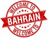 pic of bahrain  - welcome to Bahrain red round ribbon stamp - JPG