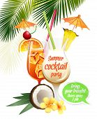 foto of pina-colada  - Vector illustration Beach tropical cocktails bahama mama and pina colada with garnish colorful poster - JPG