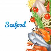 stock photo of lobster  - Seafood menu background with fish steak lobster and spices vector illustration - JPG