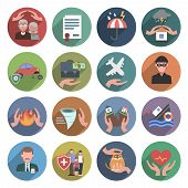 stock photo of fire insurance  - Insurance icons flat set with natural disasters health and property protection symbols isolated vector illustration - JPG
