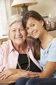 picture of visitation  - Teenage Granddaughter Visiting Grandmother At Home - JPG