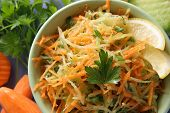 picture of grated radish  - salad with carrots black radish and parsley - JPG