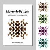 stock photo of molecules  - vector molecule science pattern brochure template - JPG