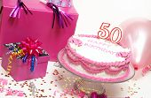 image of 50th  - A 50th birthday cake for to celebrate someones special day - JPG