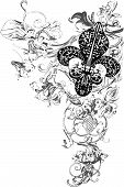 picture of fleur de lis  - classical floral ornament banner in two colors - JPG