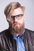 pic of long beard  - Long beard casual man posing on studio background - JPG