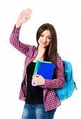 picture of comrades  - Smiling student girl with bag greets with her hand - JPG