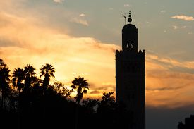 picture of mosk  - The Koutoubia mosque at sunset Marrakech Morocco - JPG