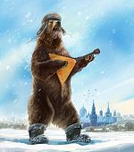 Caricature personage. Drunk and furious bear with a balalaika and a cap a soldier. The collective im poster