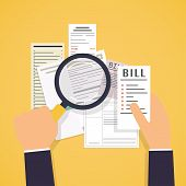 Paying Bills. Hands Holding Bills And Magnifying Glass. Payment Of Utility, Bank, Restaurant And Oth poster