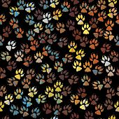 stock photo of paw-print  - Editable vector seamless tile of colorful dog paw prints - JPG
