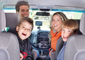 image of road trip  - Smiling happy family and a family car - JPG