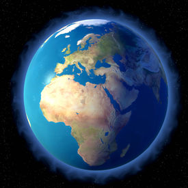 stock photo of planet earth  - 3d rendering of planet earth with a blue aura - JPG
