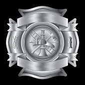 stock photo of maltese-cross  - Illustration of a firefighter Maltese cross in silver with fireman tools including axe - JPG