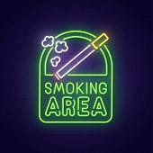 Smoking Area Neon Sign, Bright Signboard, Light Banner. Smoking Area Logo, Emblem. poster