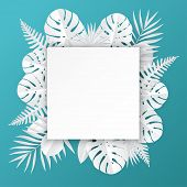 Tropical Paper Palm, Monstera Leaves Frame. Summer Tropical Leaf. Origami Exotic Hawaiian Jungle, Su poster