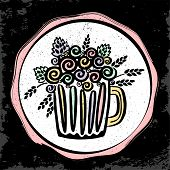 Craft Beer Hand Drawn Sticker. Outline Colorful Mug Of Craft Beer. Craft Beer Background For Your De poster