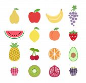 Set Of Colorful Clipart Fruits. Fruit Icons Set. Collection Of Clip Art Fruit Icons. Pear, Apple, Wa poster