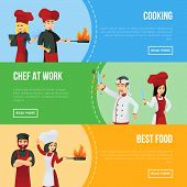 Professional Kitchen Staff Recruitment Agency Flyers. Cute Chefs In Red Cooking Uniform And Hat. Coo poster