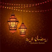 Vector Illustration Of Illuminated Lamp For Ramadan Kareem Greetings For Ramadan Background poster