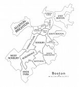Modern City Map - Boston Massachusetts City Of The Usa With Boroughs And Titles Outline Map poster