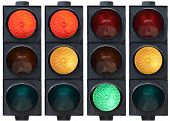 stock photo of traffic light  - Isolated traffic light in all combinations - JPG
